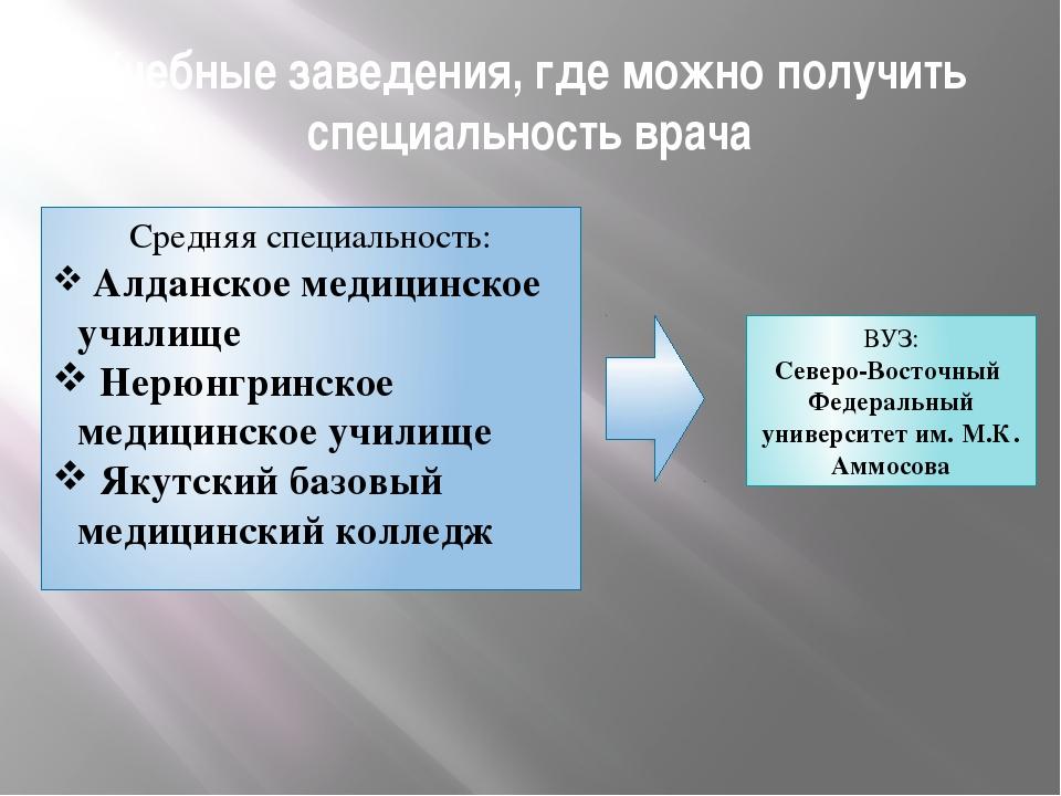 Учебные заведения, где можно получить специальность врача Средняя специальнос...