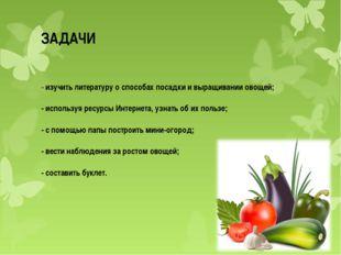 ЗАДАЧИ - изучить литературу о способах посадки и выращивании овощей; - исполь