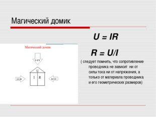 Магический домик U = IR R = U/I ( следует помнить, что сопротивление проводни
