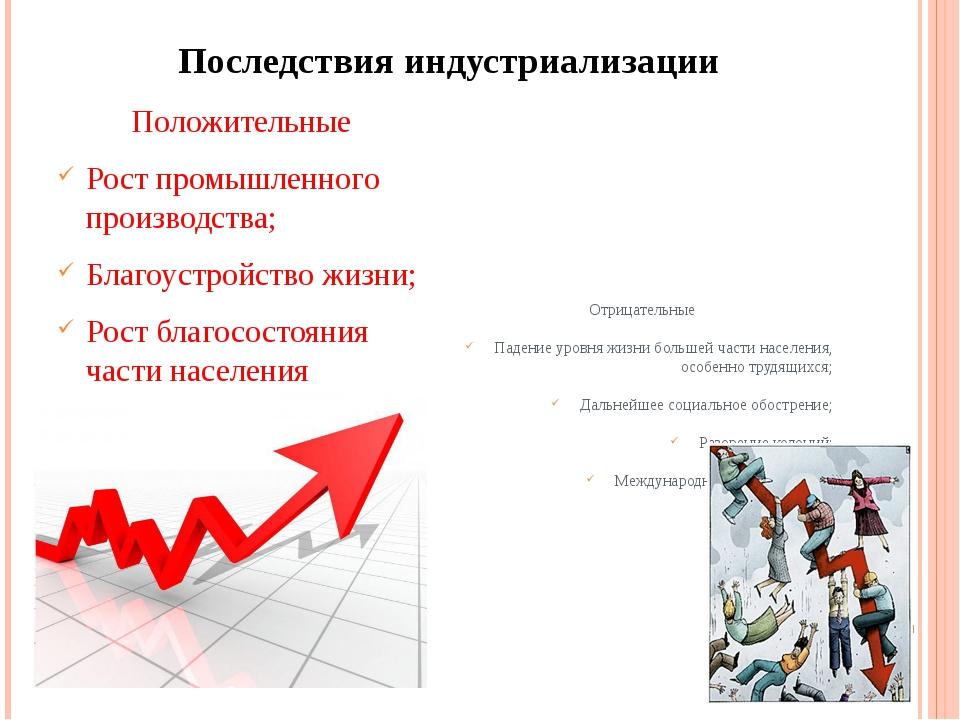 Последствия индустриализации Положительные Рост промышленного производства; Б...