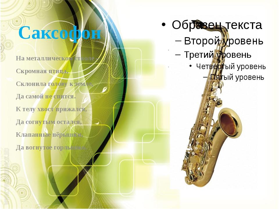 Саксофон На металлическом стволе – Скромная птица, Склонила голову к земле, Д...
