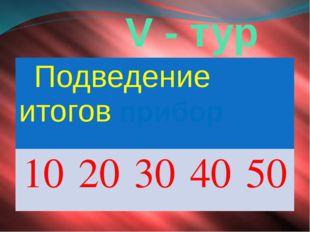 V - тур Подведение итоговприбор 10 20 30 40 50