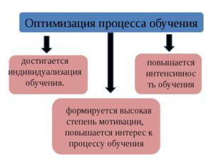достигается индивидуализация обучения. Оптимизация процесса обучения формируе
