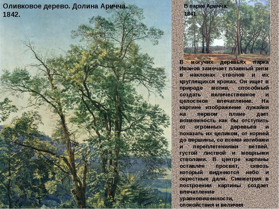 Оливковое дерево. Долина Аричча. 1842. В парке Аричча. 1841. В могучих де...