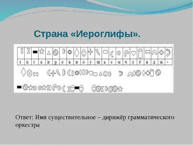 Страна «Иероглифы». Ответ: Имя существительное – дирижёр грамматического орк...