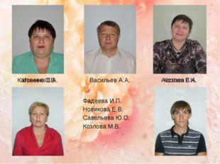 Калинина В.А. Васильев А.А. Аистова Г.Н. Исаева С.В. Козлов В.А. Фадеева И.П.