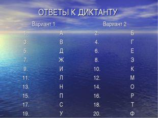 ОТВЕТЫ К ДИКТАНТУ Вариант 1Вариант 2 1.А2.Б 3.В4.Г 5.Д6.Е 7.Ж8.