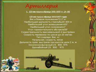 1. 122-мм пушка образца 1931-1937 гг. (А-19) 122-мм пушка образца 1931/1937 г