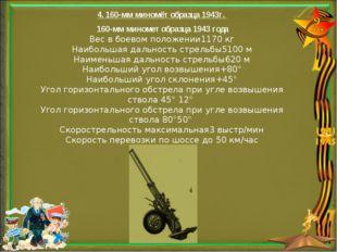 4. 160-мм миномёт образца 1943г. 160-мм миномет образца 1943 года Вес в боев