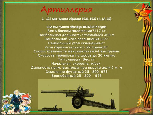 1. 122-мм пушка образца 1931-1937 гг. (А-19) 122-мм пушка образца 1931/1937 г...
