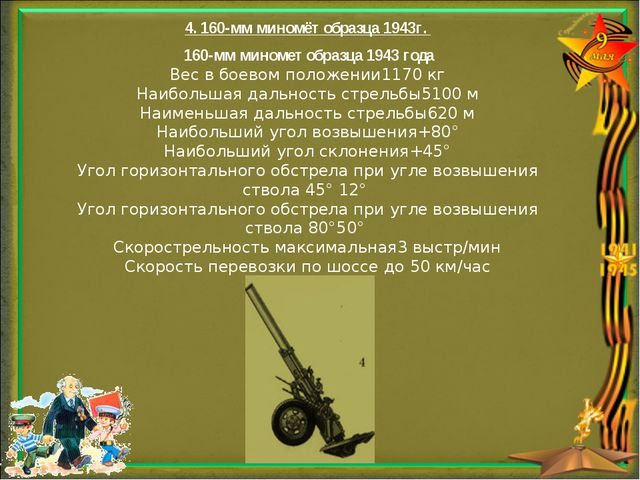 4. 160-мм миномёт образца 1943г. 160-мм миномет образца 1943 года Вес в боев...