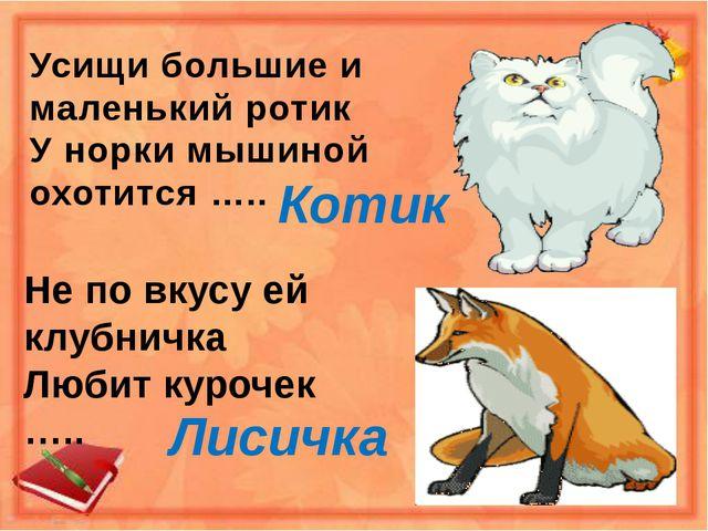Усищи большие и маленький ротик У норки мышиной охотится ….. Котик Не по вкус...