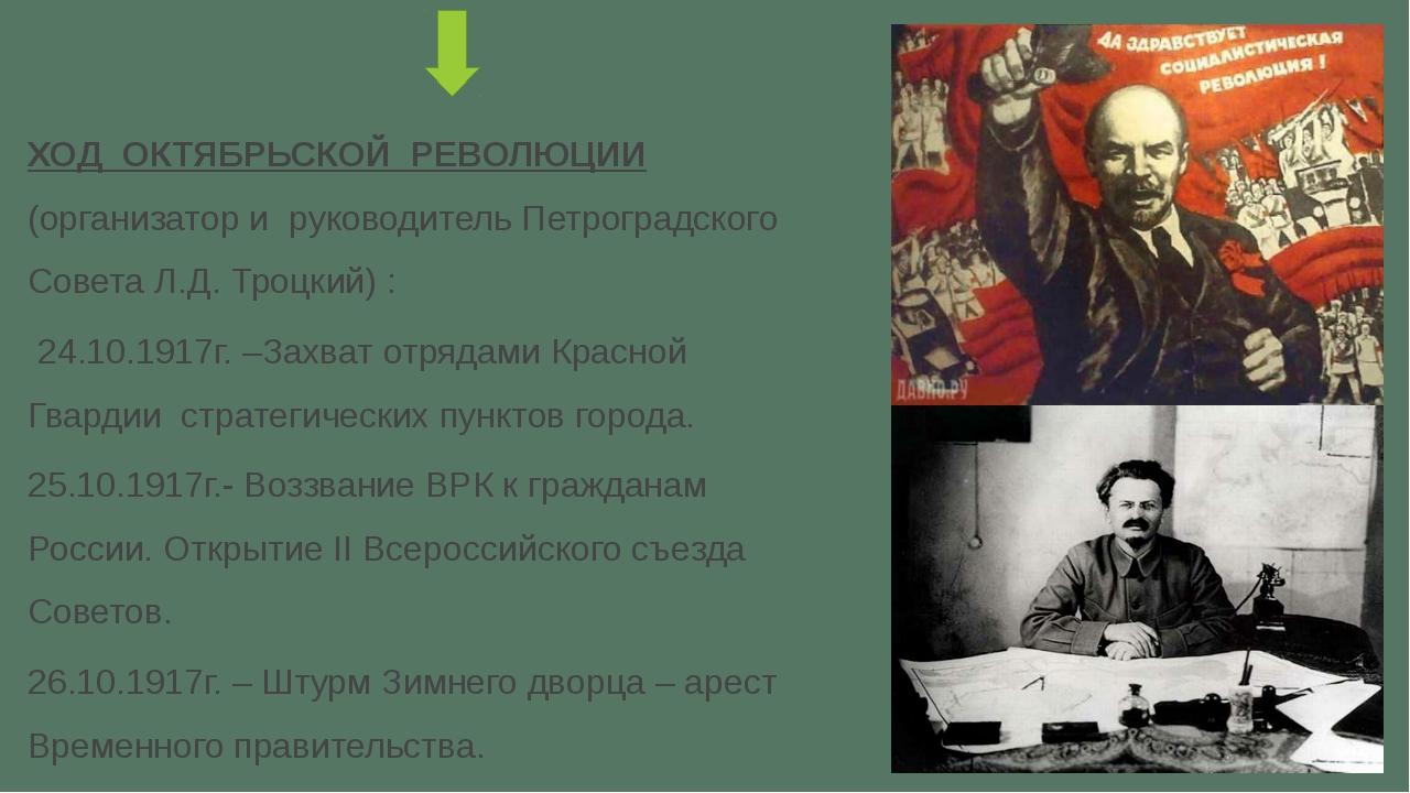 ХОД ОКТЯБРЬСКОЙ РЕВОЛЮЦИИ (организатор и руководитель Петроградского Совета...