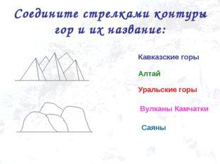 Соедините стрелками контуры гор и их название: Уральские горы Кавказские горы