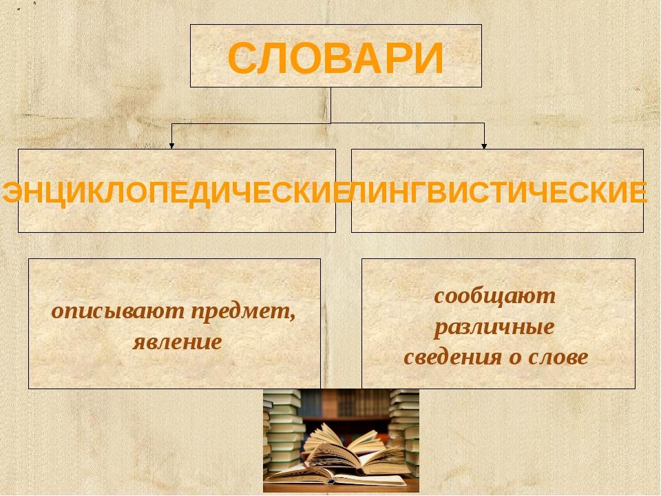описывают предмет, явление сообщают различные сведения о слове СЛОВАРИ ЭНЦИКЛ...