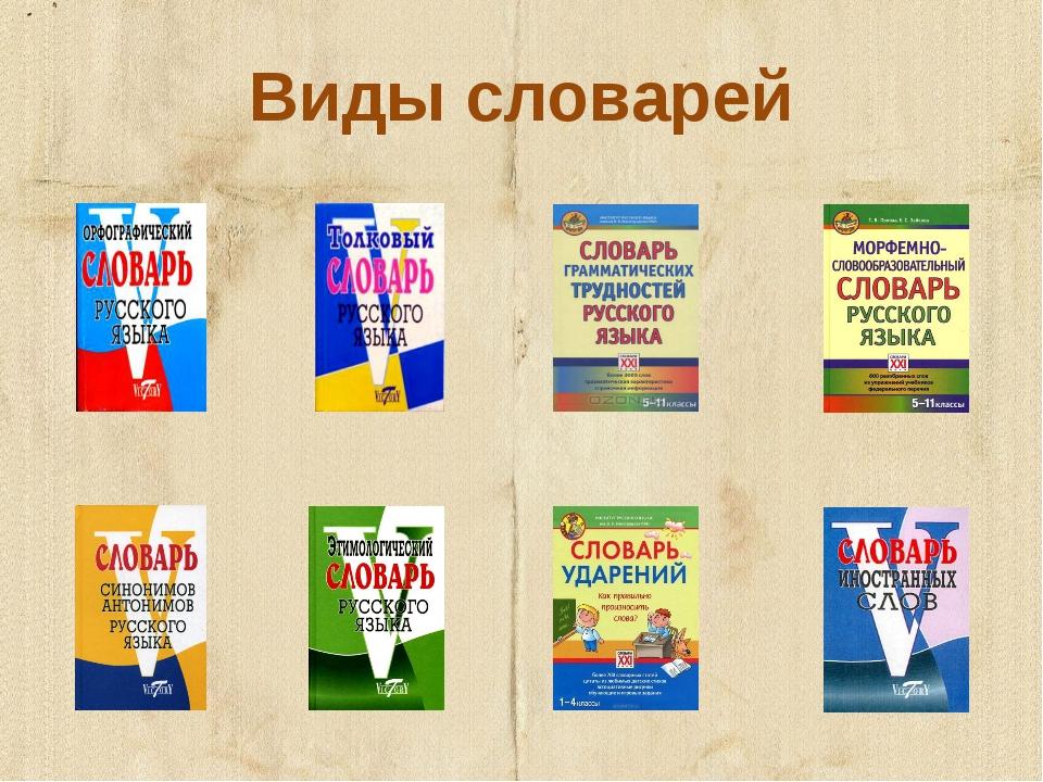 Виды словарей