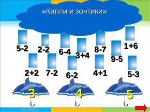 «Капли и зонтики» 3 4 5 2+2 2-2 5-2 6-4 7-2 3+4 8-7 6-2 9-5 4+1 5-3 1+6