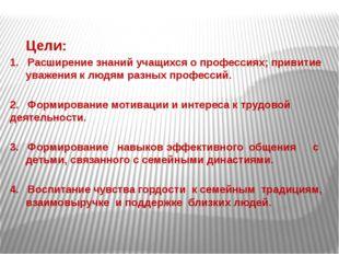 Цели: 1. Расширение знаний учащихся о профессиях; привитие уважения к людям