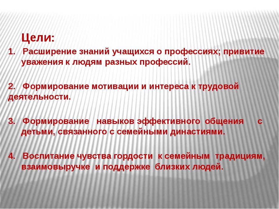 Цели: 1. Расширение знаний учащихся о профессиях; привитие уважения к людям...