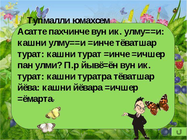 Тупмалли юмахсем Асатте пахчинче вун ик. улму==и: кашни улму==и =инче тёватш...