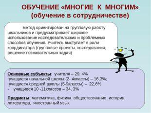 ОБУЧЕНИЕ «МНОГИЕ К МНОГИМ» (обучение в сотрудничестве) Метод ориентирован на