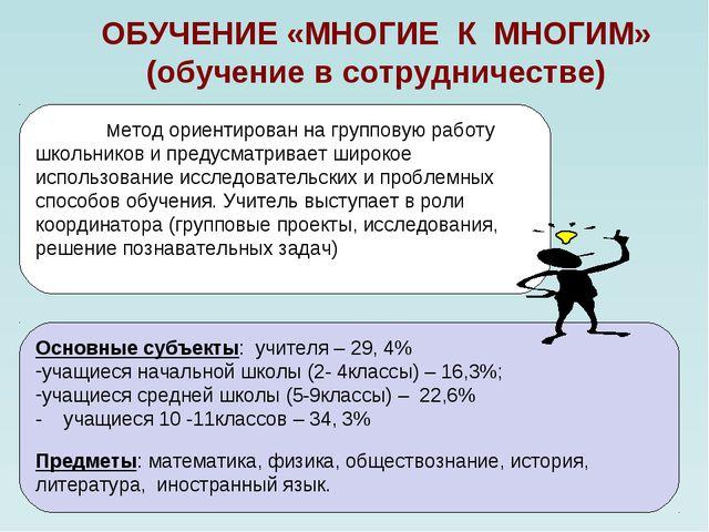 ОБУЧЕНИЕ «МНОГИЕ К МНОГИМ» (обучение в сотрудничестве) Метод ориентирован на...