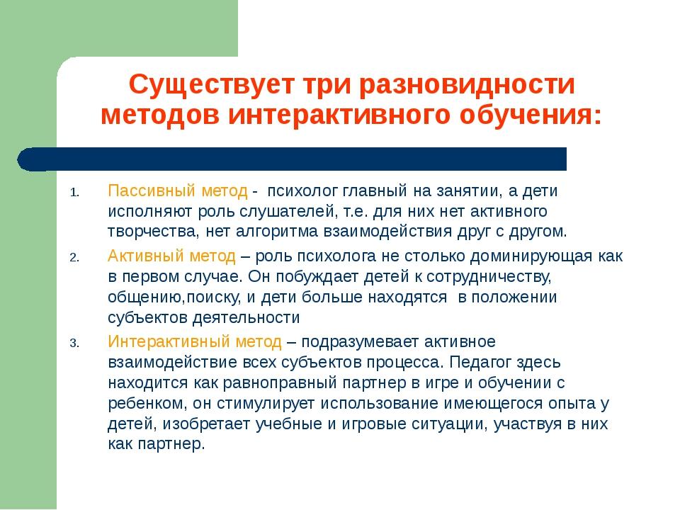 Существует три разновидности методов интерактивного обучения: Пассивный метод...