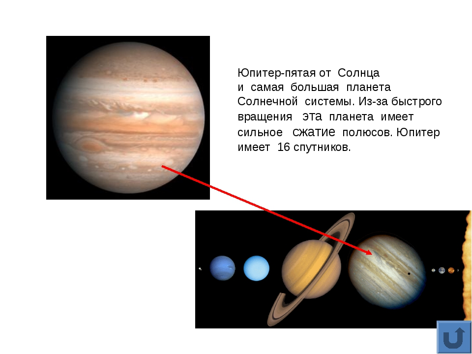 Юпитер-пятая от Солнца и самая большая планета Солнечной системы. Из-за быстр...