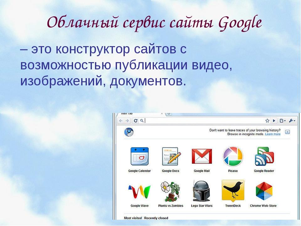 Облачный сервис сайты Google – это конструктор сайтов с возможностью публика...