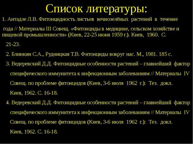 Список литературы: 1. Антадзе Л.В. Фитонцидность листьев вечнозелёных растени...