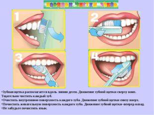 Зубная щетка располагается вдоль линии десен. Движение зубной щетки сверху вн