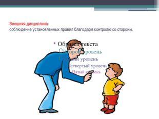 Внешняя дисциплина- соблюдение установленных правил благодаря контролю со сто