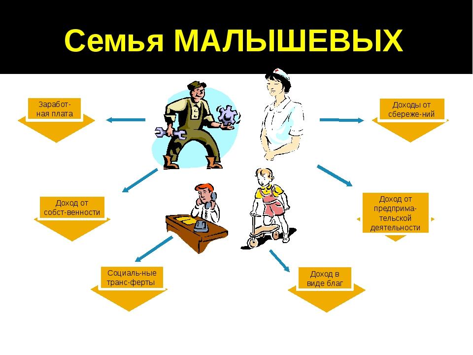Семья МАЛЫШЕВЫХ Заработ-ная плата Доход от собст-венности Социаль-ные транс-ф...