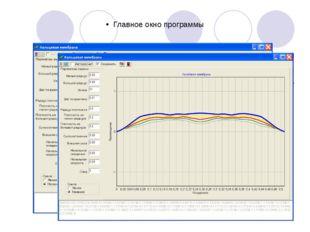 Главное окно программы Взаимодействие пользователя с программой происходит в