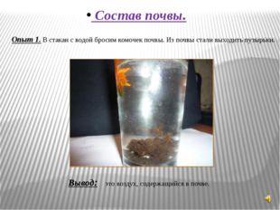 Состав почвы. Опыт 1. В стакан с водой бросим комочек почвы. Из почвы стали