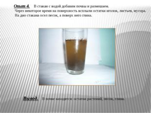 Опыт 4. В стакан с водой добавим почвы и размешаем. Через некоторое время на