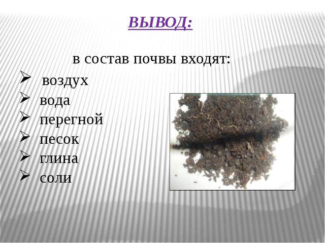 ВЫВОД: в состав почвы входят: воздух вода перегной песок глина соли