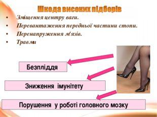 Зміщення центру ваги. Перевантаження передньої частини стопи. Перенапруження