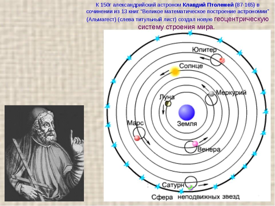 К 150г александрийский астроном Клавдий Птолемей (87-165) в сочинении из 13 к...