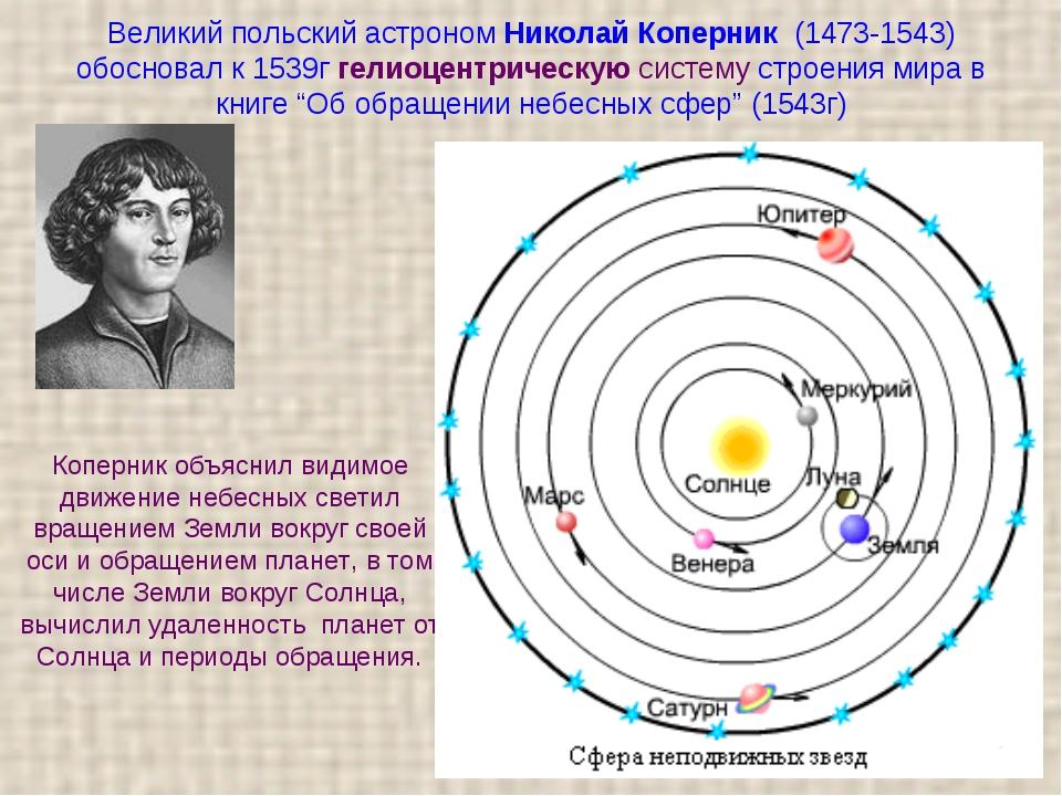 Великий польский астроном Николай Коперник (1473-1543) обосновал к 1539г гел...