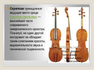 Скрипкампринадлежит ведущее место средиструнных смычковых— важнейшей част