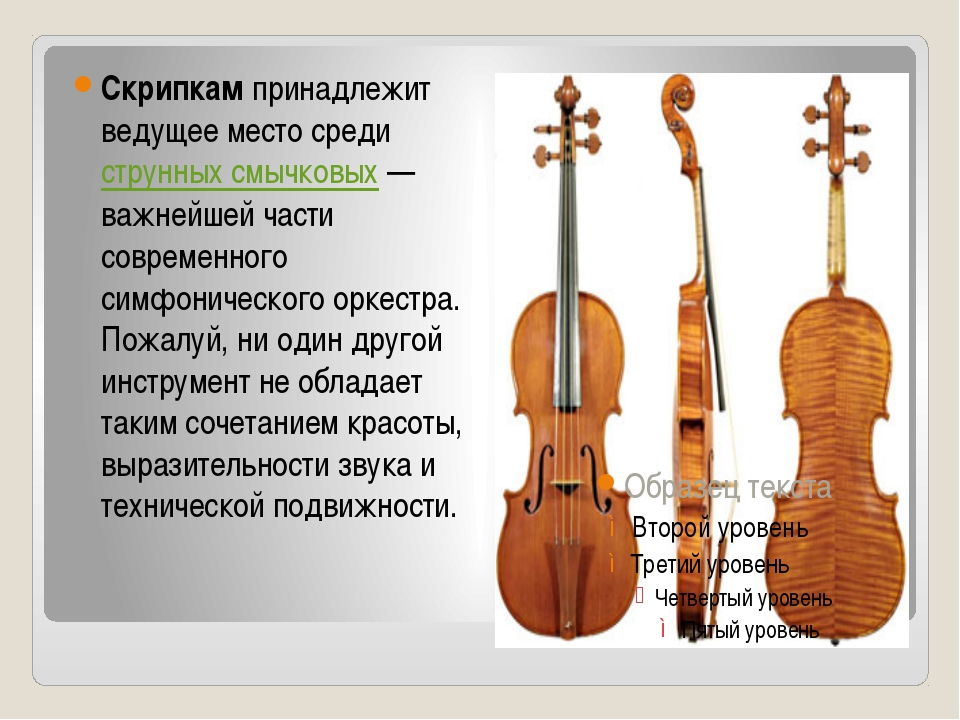 Скрипкампринадлежит ведущее место средиструнных смычковых— важнейшей част...