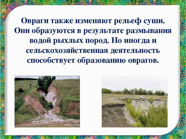 Овраги также изменяют рельеф суши. Они образуются в результате размывания вод...