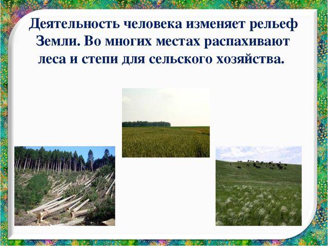 Деятельность человека изменяет рельеф Земли. Во многих местах распахивают лес...