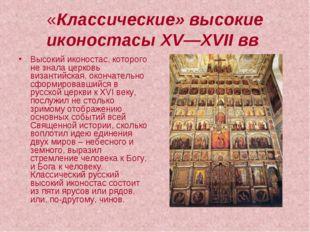 «Классические» высокие иконостасы XV—XVII вв Высокий иконостас, которого не з