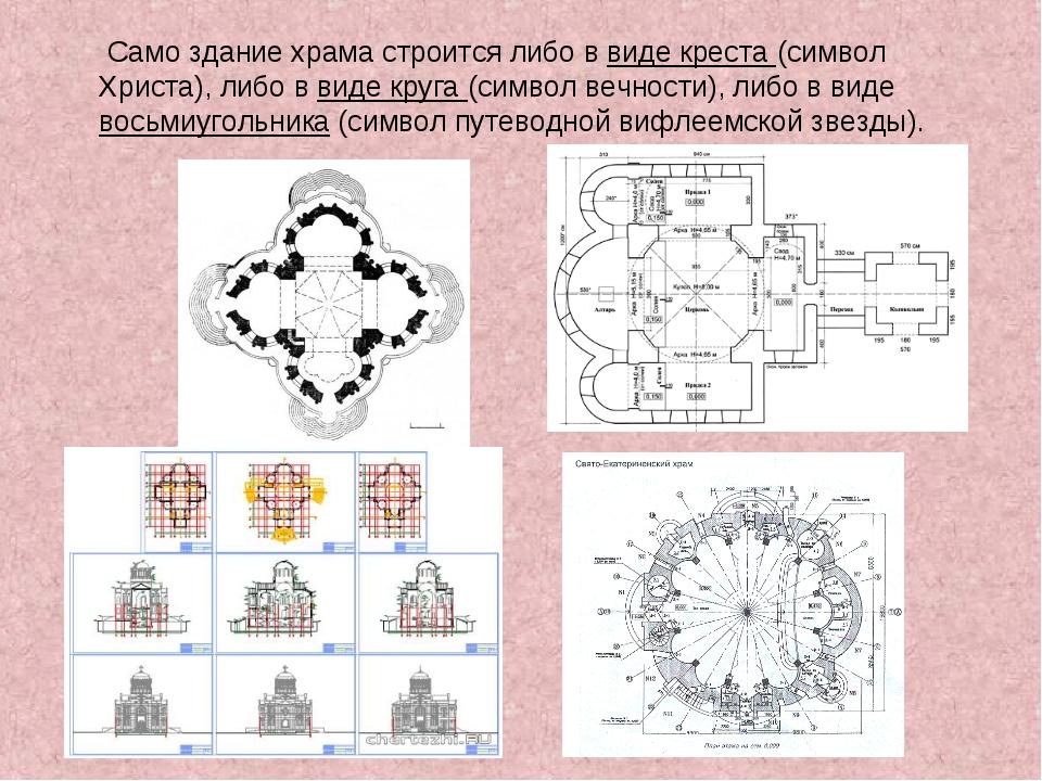 Само здание храма строится либо в виде креста (символ Христа), либо в виде к...
