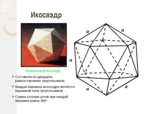 a a a a a Икосаэдрр Правильный икосаэдр Составлен из двадцати равносторонних