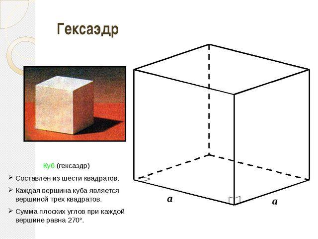 a a a Гексаэдр Куб (гексаэдр) Составлен из шести квадратов. Каждая вершина к...