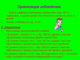 Организация наблюдения. Найти суффиксы записанных причастиях (упр. 89) и опре