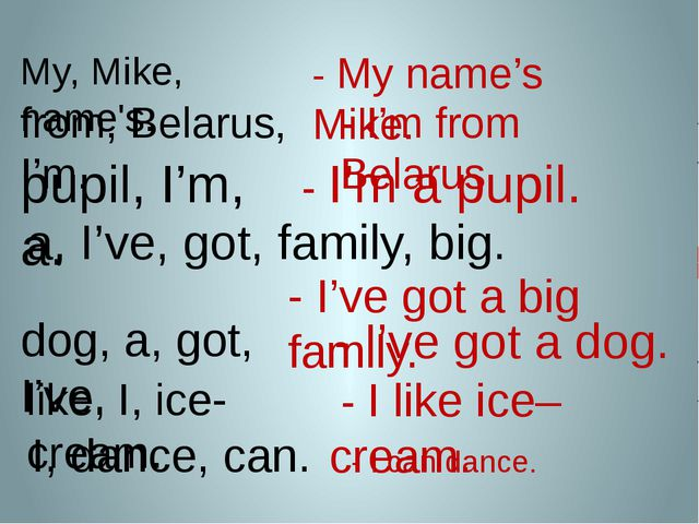 - I can dance. My, Mike, name's. - My name's Mike. from, Belarus, I'm. - I'm...